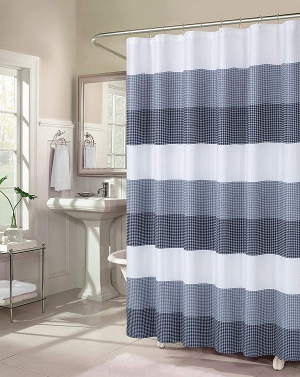 Dainty Home Ombre Waffle Navy Shower Curtain