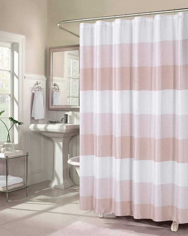 Dainty Home Ombre Waffle Blush Shower Curtain