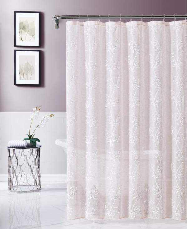 Dainty Home Stella Chenille Embroidered Shower Curtain