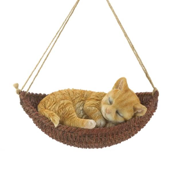 Napping Cat On Hammock Figurine