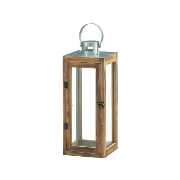 Metal Top Square Wood Lantern