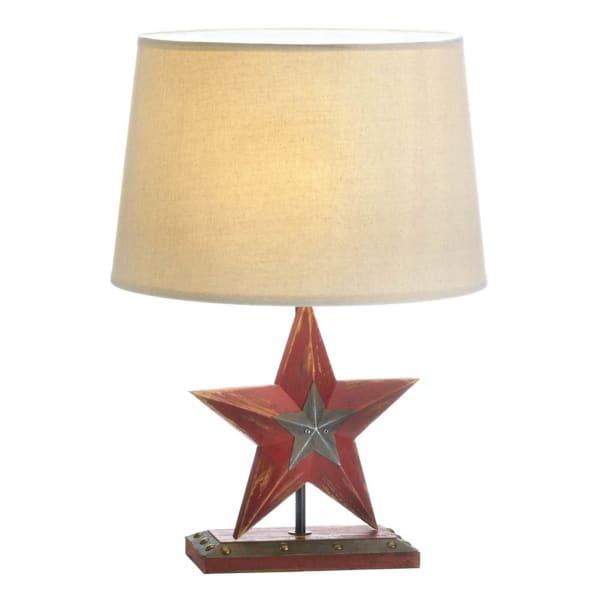 Farmhouse Red Star Table Lamp