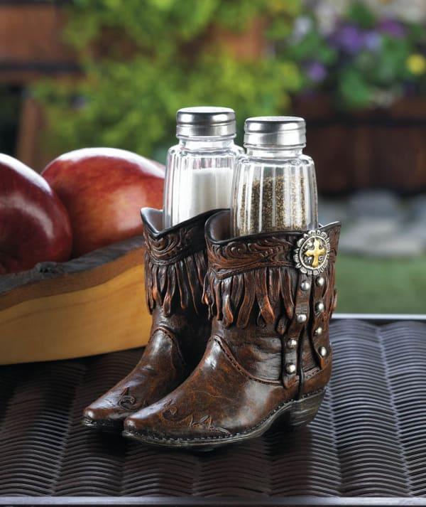 Cowboy Boots Salt & Pepper Shakers Holder Set