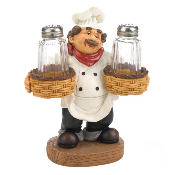 Chef Holder Salt & Pepper Shakers Set