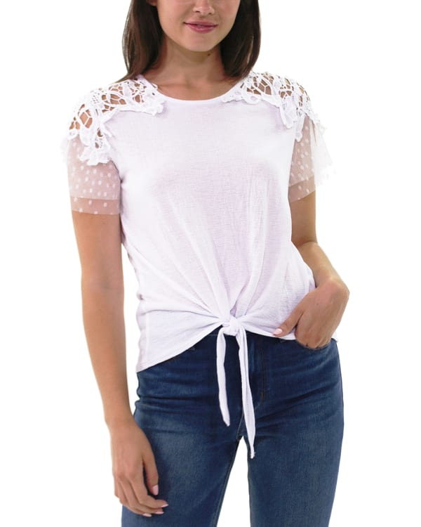 Short Point De Sprit Sleeve Top With Crochet Detail And Knotted Hem