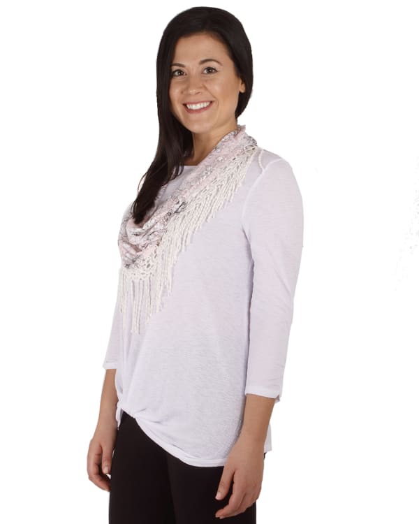 3/4 Rouched Sleeve Twist Front Tunic With Detachable Scarf