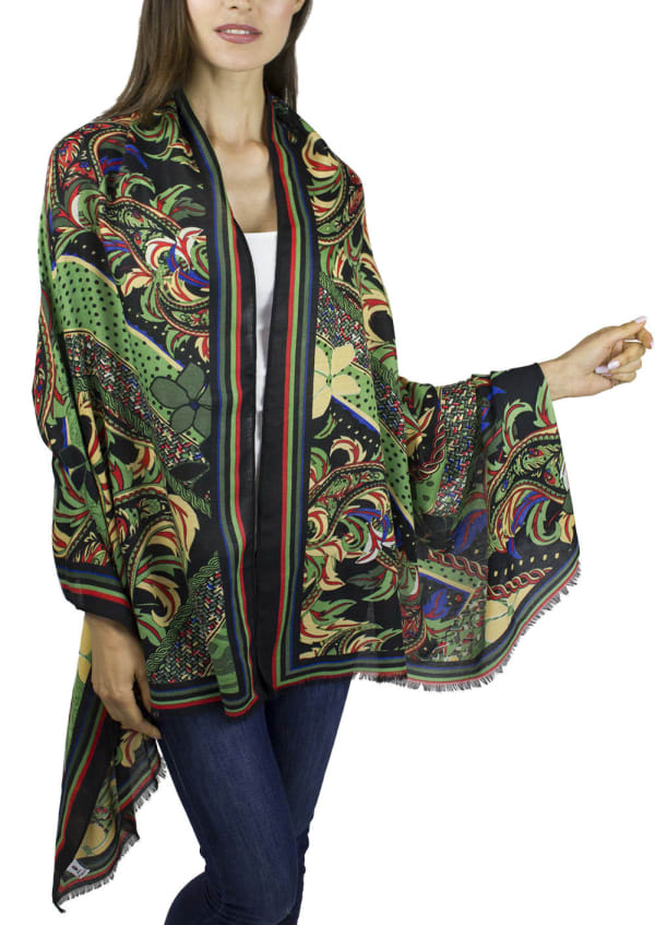 Jessica Mcclintock Floral Paisley Shawl with Glitter
