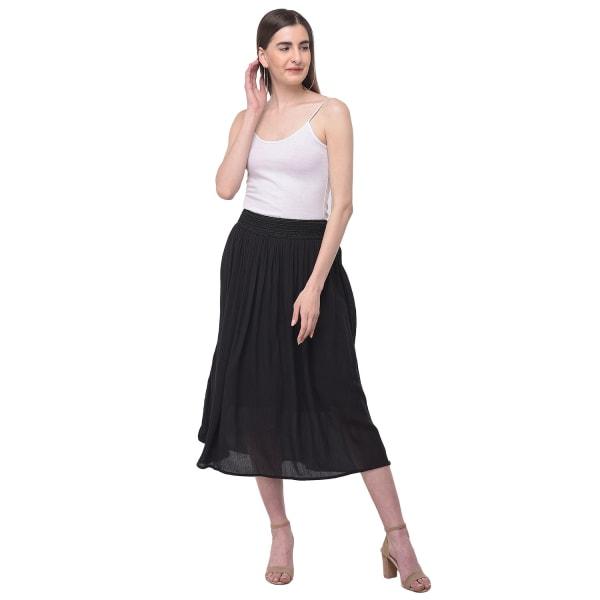 Black High Waist Midi A-Line Skirt