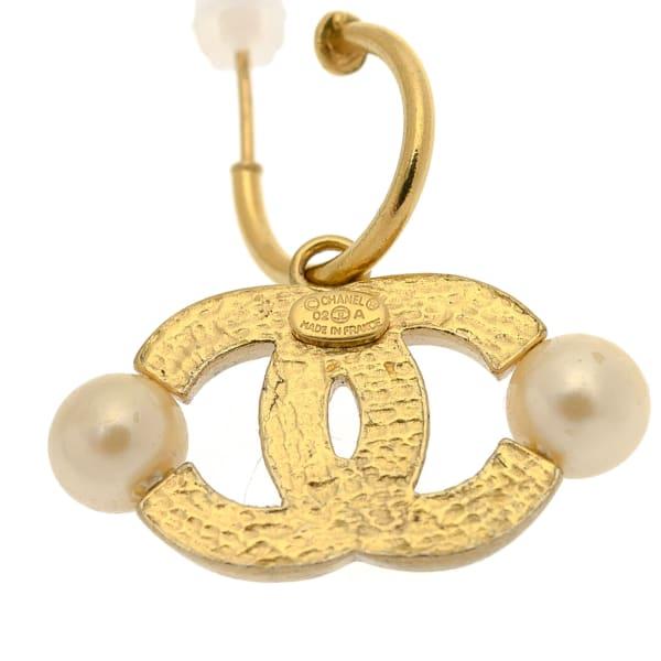 Chanel CC Logo Faux Pearl Pierced Earrings