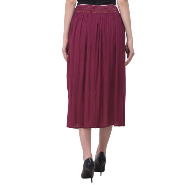 Maroon High Waist Midi A-Line Skirt