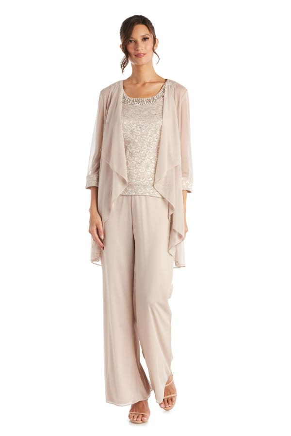 Three-Piece Pant Set with Lace, Pearl Detail and Sheer Cardigan