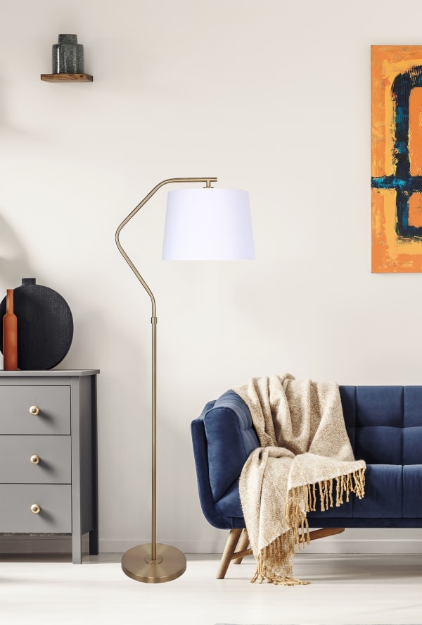 62.5 in. Royal Gold Floor Lamp with Angled Base Design and Off-White Tapered Drum Shade