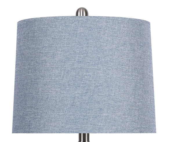 """27"""" Curvy Brushed Nickel Table Lamps with Dusty Blue Textured Slub Linen Shades"""