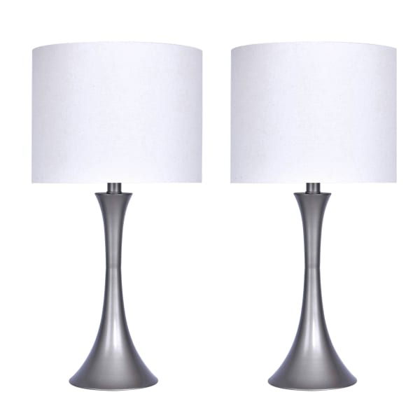 """24.25"""" Frosted Silver Table Lamp Set"""