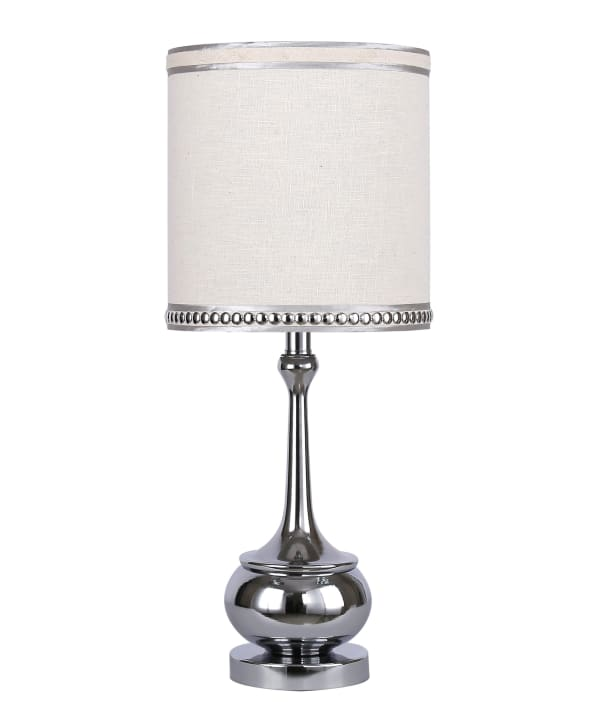 """24"""" Mirrored Polished Chrome Table Lamp ft. Unique Turned Body"""