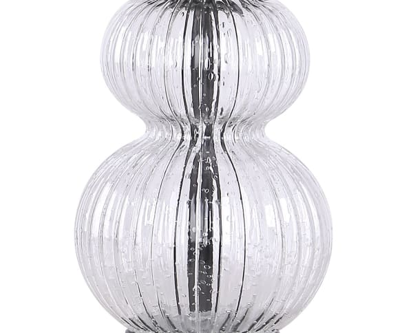 """20.5"""" Clear Glass Table Lamps w/ Oil-Rubbed Bronze Finish & Oatmeal Linen Drum Shade"""