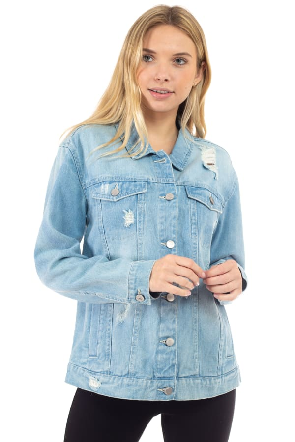 26 International Oversized Destructed Denim Jacket