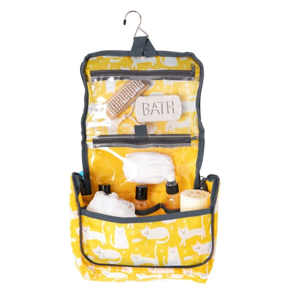 Kitty Cats Yellow Hanging Toiletry Bag