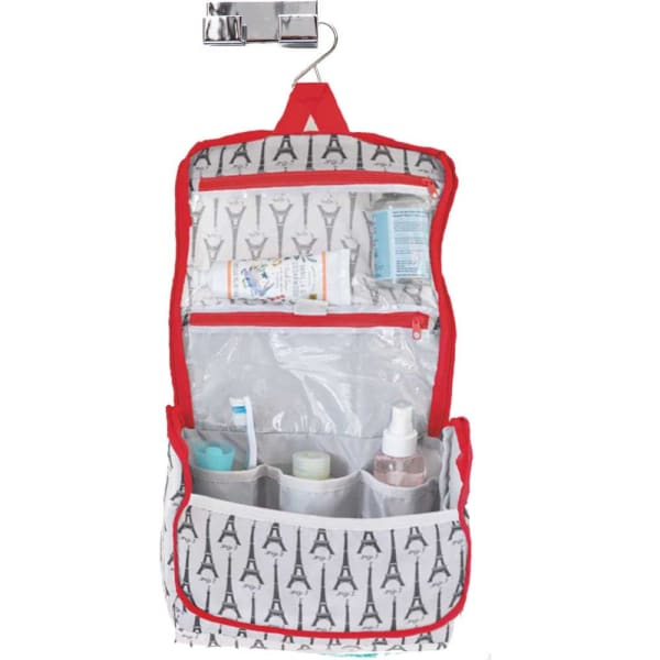 Eiffel Tower White Hanging Toiletry Bag