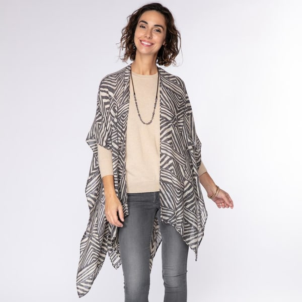 Zebra Black Kimono Wrap