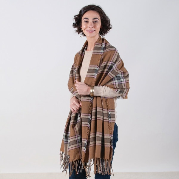 Camel/Pink Plaid Wrap Blanket Scarf