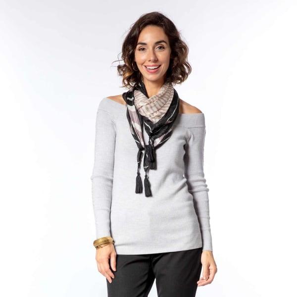Mariah Stripe Charcoal Silk Scarf