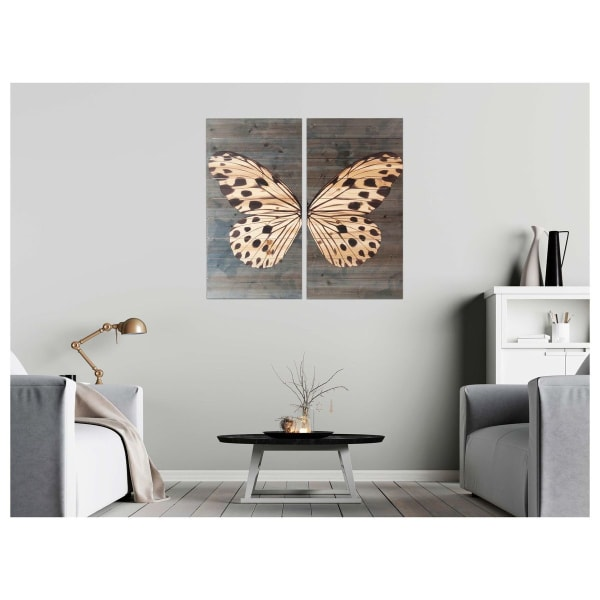 Butterfly Diptych 29x29 Print on Wood Wall Art