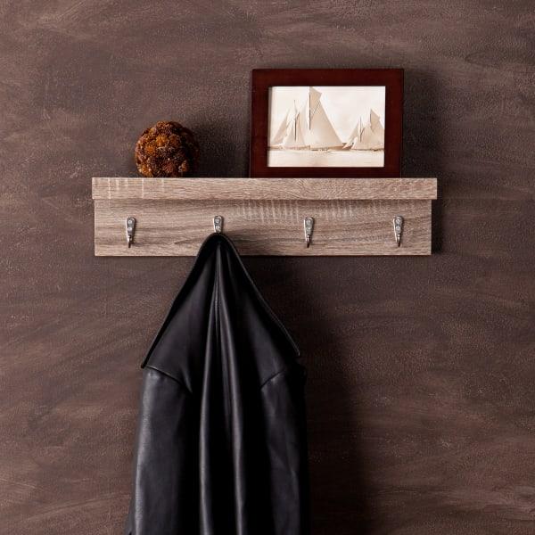 O'Brien Smoky Oak Wall Shelf with Hooks