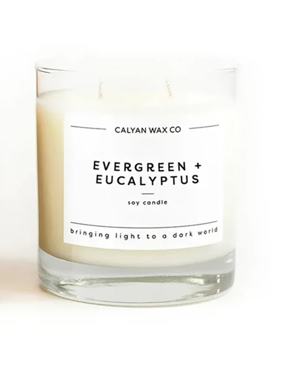 Evergreen/Eucalyptus 8.25 oz. Clear Glass Tumbler Soy Wax Candle