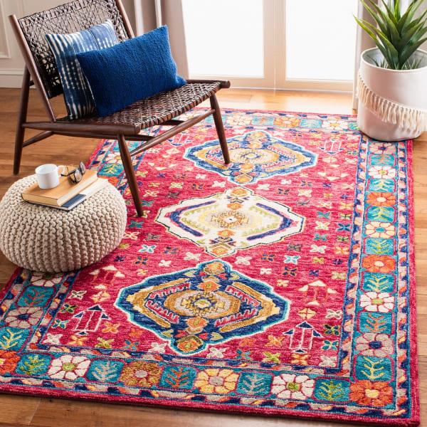 Safavieh Vail Red & Blue Wool Rug