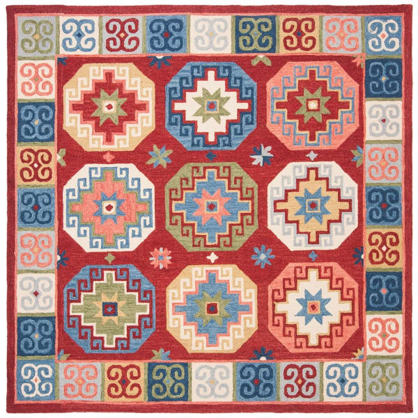 Safavieh Vail  7' X 7' Square Red & Blue Wool Rug