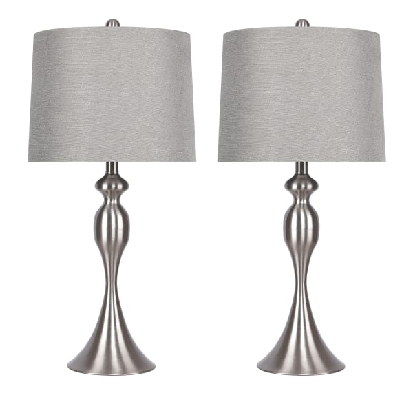 """27"""" Curvy Brushed Nickel Table Lamps with Grey Textured Slub Linen Shades"""