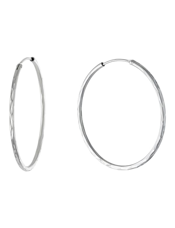 Sterling Silver 40mm Diamond Cut Endless Hoops