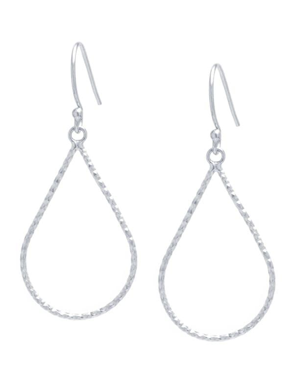Sterling Silver Diamond Cut Open Teardrop Earrings