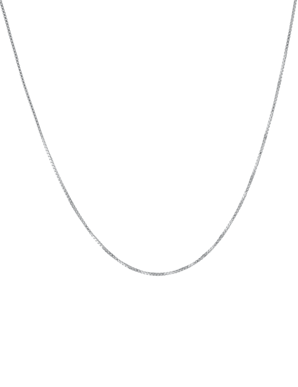 "Sterling Silver 18"" Box Chain Necklace"