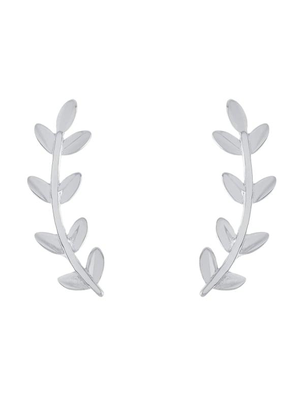 Sterling Silver High Polished Leaf Ear Fan Earrings