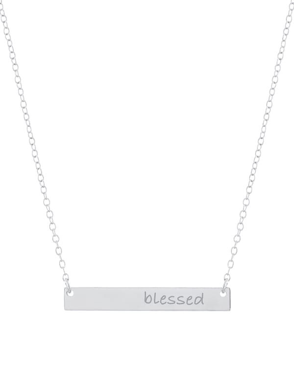 "Sterling Silver 16+2"" Blessed Bar necklace"