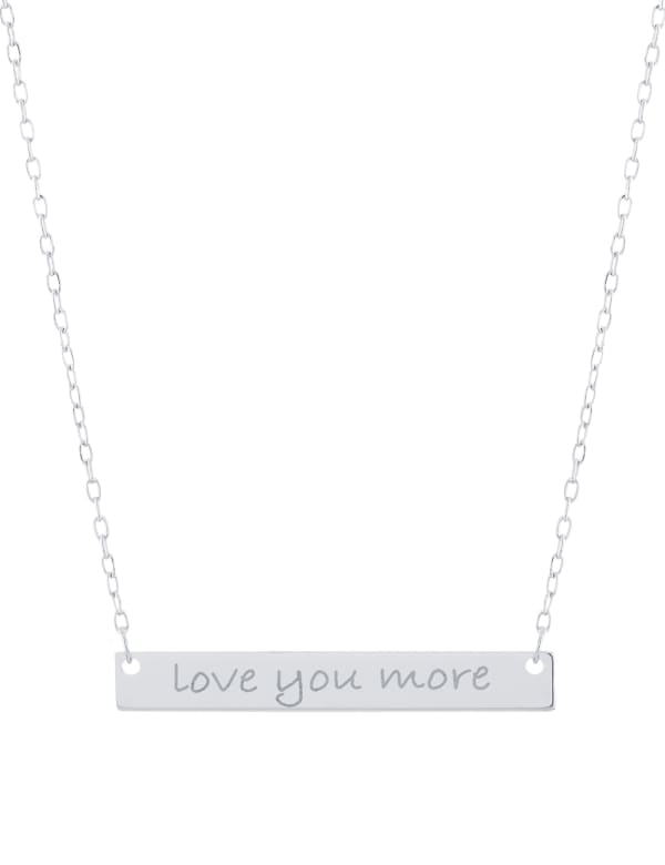 """Sterling Silver 16+2"""" Love You More Bar Necklace"""