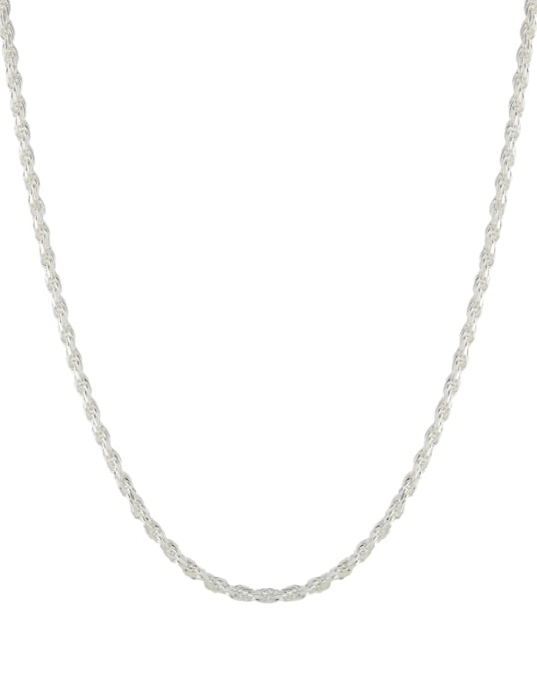 """Sterling Silver 16"""" Diamond Cut Rope Chain Necklace"""