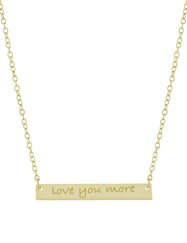 """Gold Over Sterling Silver 16+2"""" Love You More Bar Necklace"""