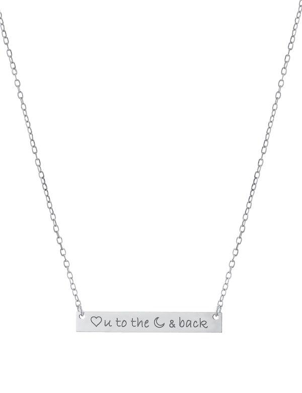 "Sterling Silver 16+2"" Love You To The Moon & Back Bar Necklace"