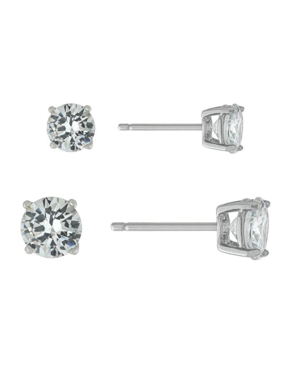 Sterling Silver 5mm and 6mm Cubic Zirconia Stud Set