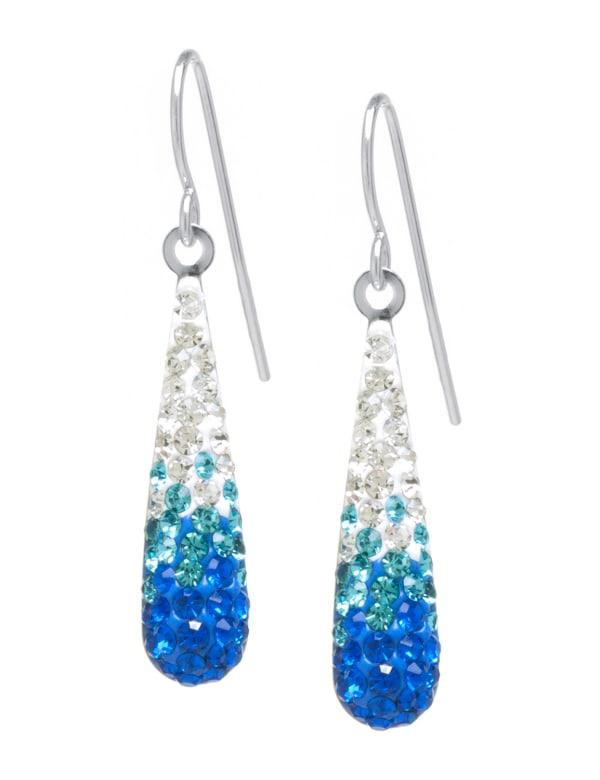 Sterling Silver Multi Blue Crystal Teardrop Earrings