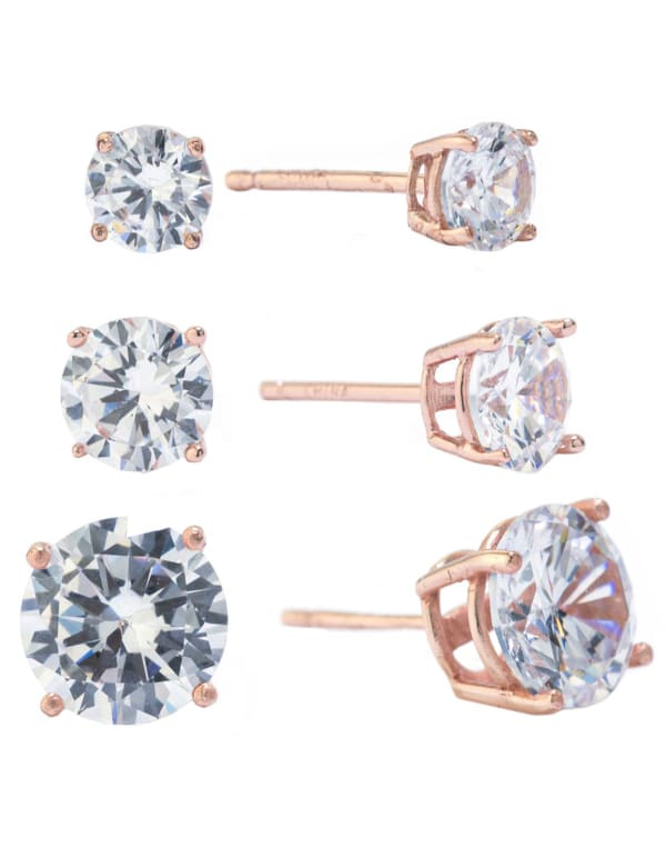 Rose Gold Over Sterling Silver 5, 6 and 8MM Cubic Zirconia Stud Earrings