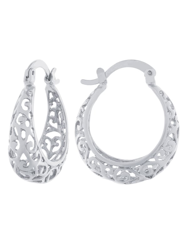 Boxed fine silver plated 22mm filigree hoops