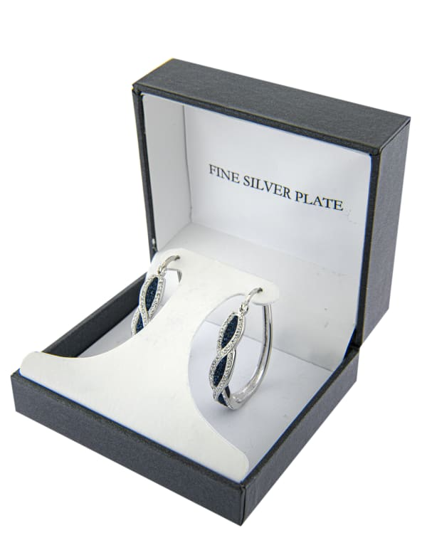 Boxed Fine Silver Plated 25mm Dark Blue Crystal Front Twist Hoops