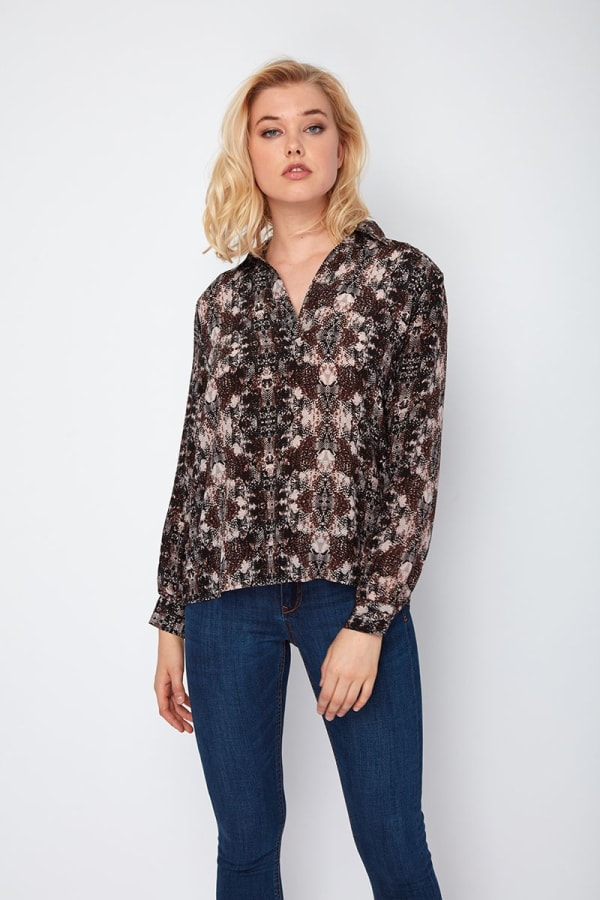 Dora Landa Printed Silk Shirt Collar Jones Top