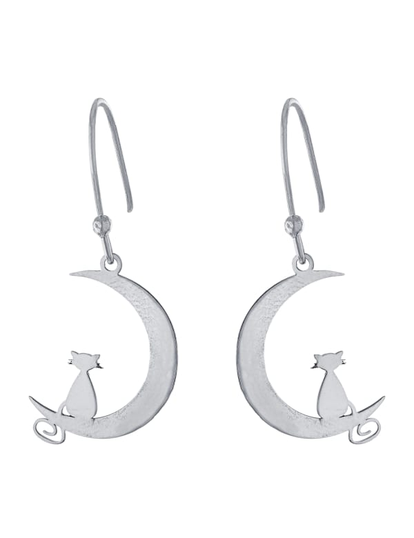 Sterling Silver Laser Cut Moon With Cat Drop Earrings