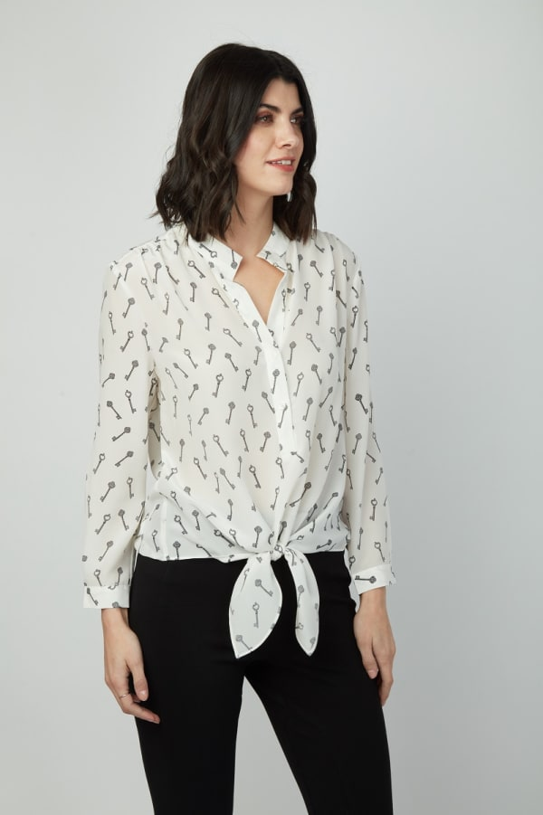 Dora Landa Printed Key Silk Malone Top