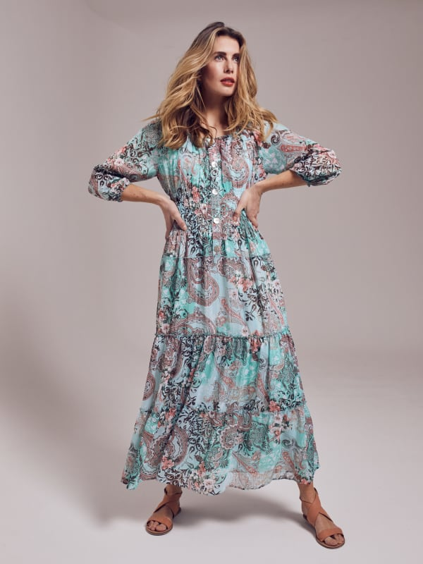 Paisley Veronica Maxi Peasant Dress